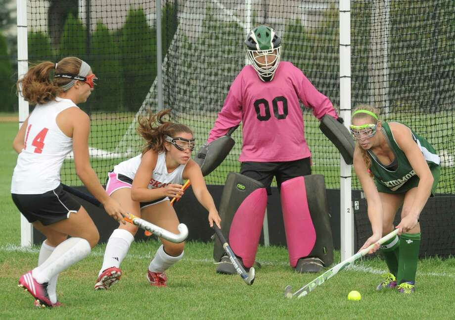 The Niskayuna and Greenwich girl's field hockey teams scrimmage on Friday Aug. 30, 2013 in Niskayuna, N.Y. (Michael P. Farrell/Times Union) Photo: Michael P. Farrell / 00023687A