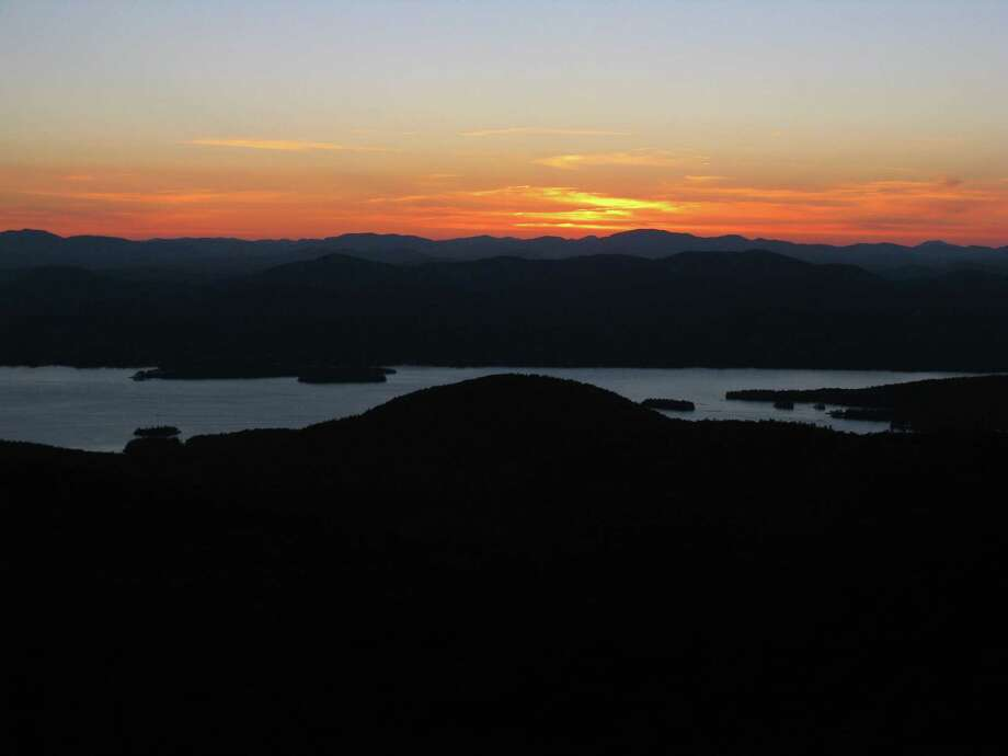 A view from the top of Sleeping Beauty of Lake George at sundown. (Herb Terns / Times Union) Photo: Picasa