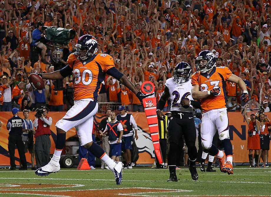 Tight end Julius Thomas, who had one reception in his first two seasons, caught five balls for 110 yards and two scores. Photo: Doug Pensinger, Getty Images