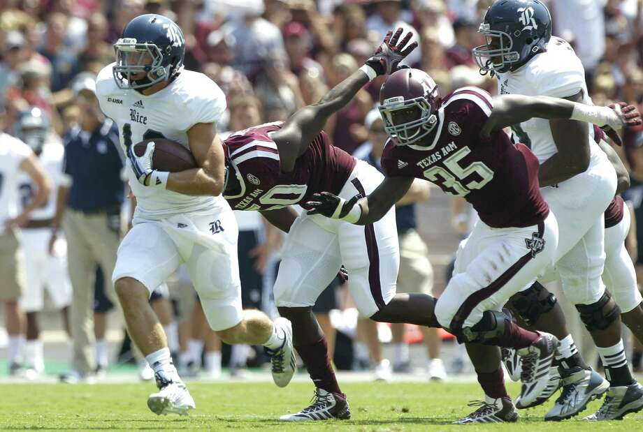 Texas A&M's defense had trouble getting a handle on Taylor McHargue and Rice in last weekend's victory at Kyle Field. Photo: Brett Coomer / Houston Chronicle