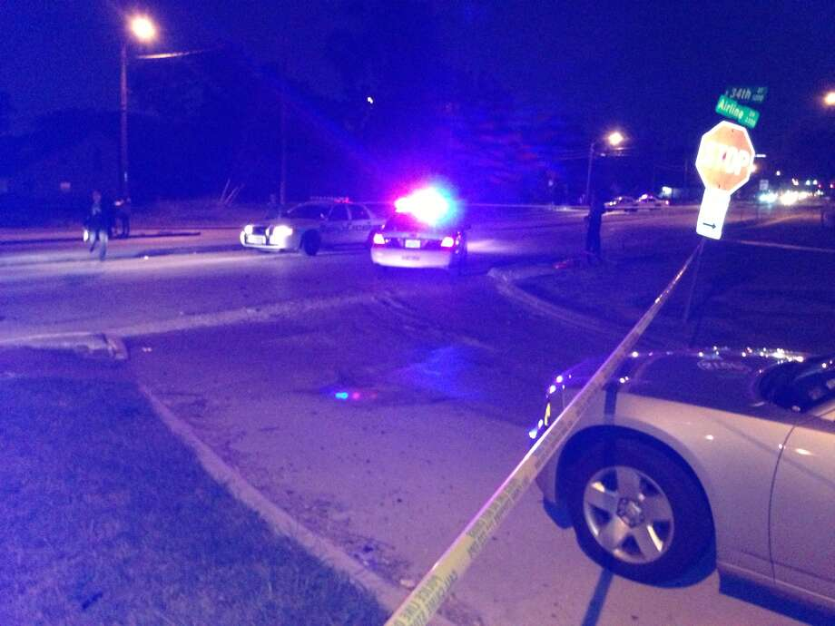 The victim was shot along Airline near West 34th on Thursday night.  (Mike Glenn/Chronicle)