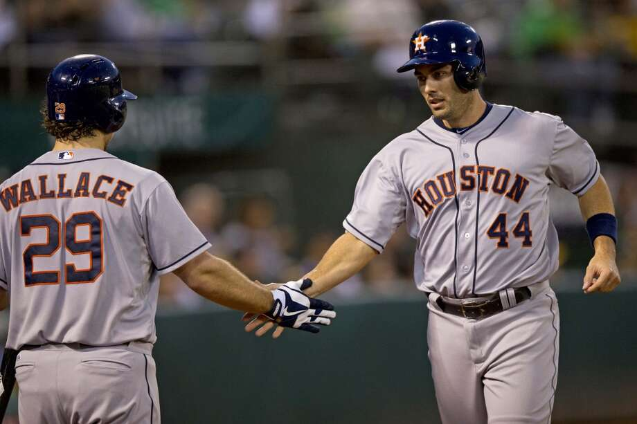 Sept. 5: Astros 3, A's 2Matt Pagnozzi #44 of the Houston Astros is congratulated by Brett Wallace #29 after scoring a run against the Athletics. Photo: Jason O. Watson, Getty Images