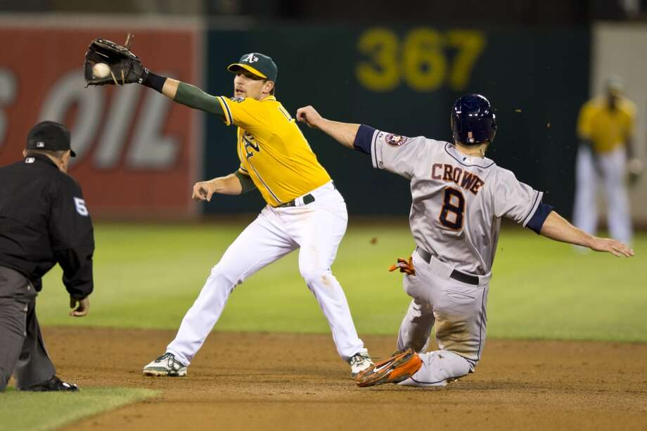 Trevor Crowe #8 of the Astros steals second base ahead of the tag from Jed Lowrie #8. Photo: Jason O. Watson, Getty Images