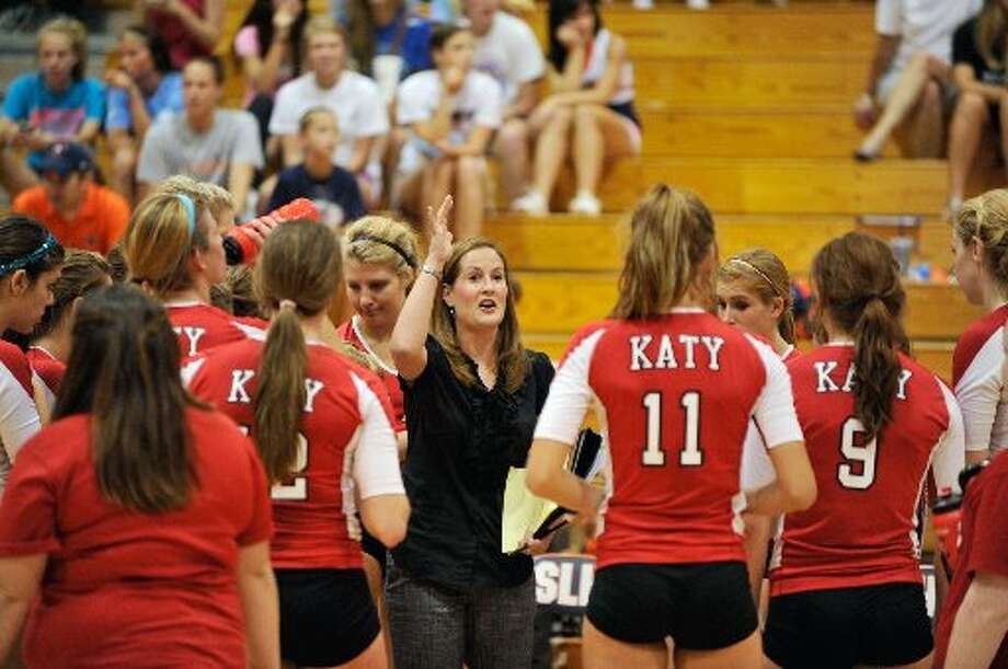 Coach Karen Paxton coaches the Katy Tigers volleyball team.