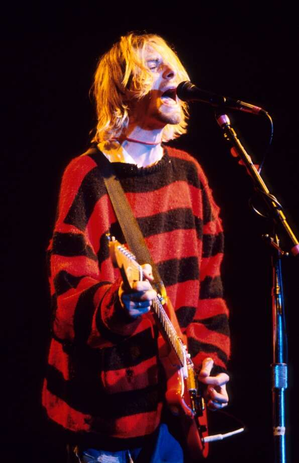 "Kurt Cobain of Nirvana in a signature ""Seattle"" mohair sweater. Photo: KMazur, WireImage"