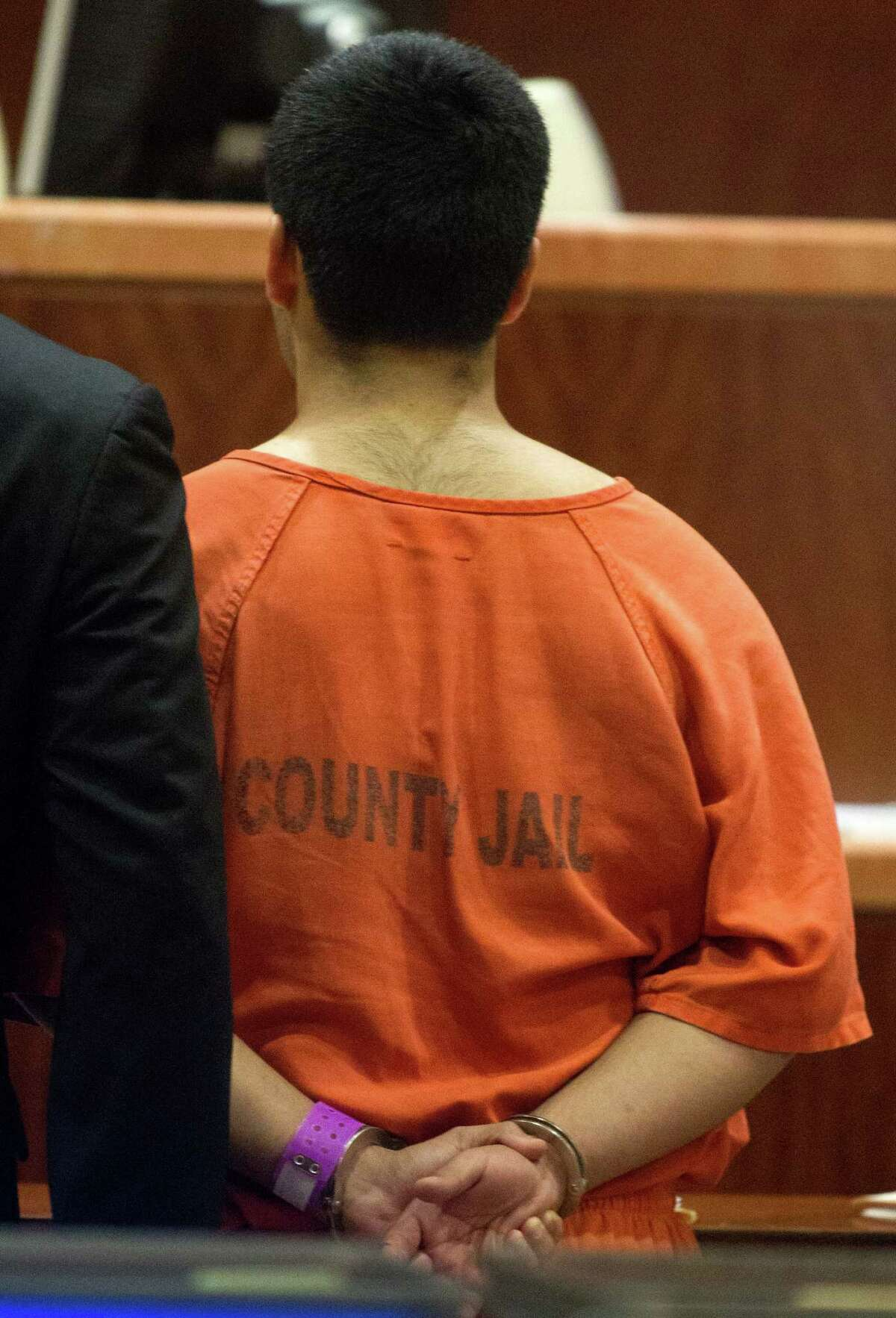 Luis Alonzo Alfaro, 17, appears in the 262nd District Court on Friday, Sept. 6, 2013, in Houston. Alfaro is charged with murder accused of fatally stabbing 17-year-old Joshua Broussard at Spring High School.