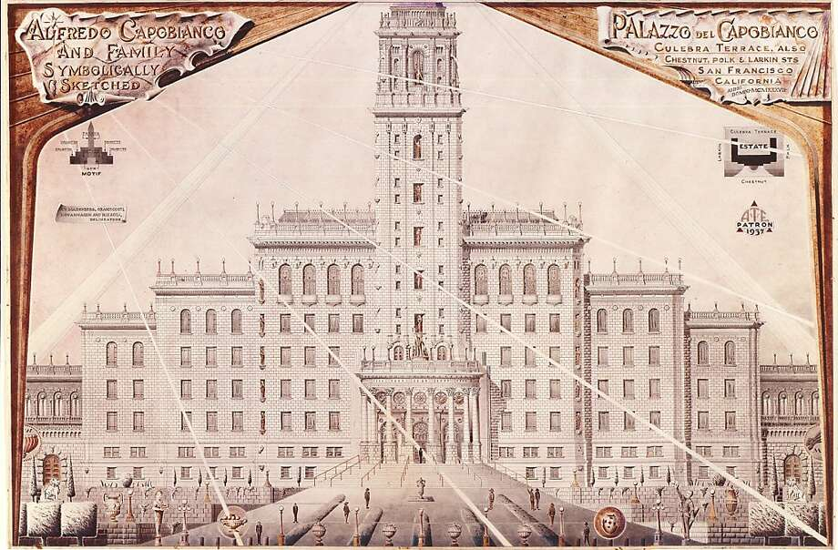 """Artist A.G. Rizzoli honored people in elaborate architectural renderings such as this tribute to the Alfredo Capobianco family, """"symbolically sketched."""" Photo: Handout, Courtesy The Ames Gallery"""
