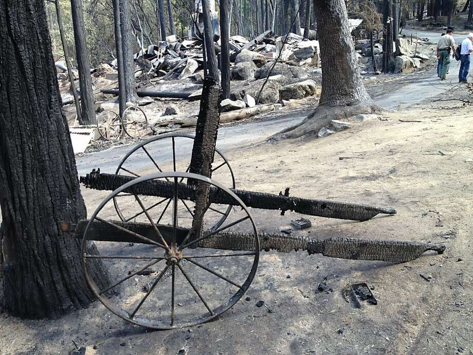 A charred cart is seen at the city of Berkeley's Tuolumne Family Camp on Wednesday after the Rim Fire burned through the region. Photo: Courtesy Of William Rogers