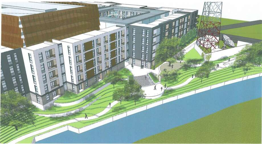 South Carolina-based Greystar has plans for a 350-unit apartment complex called Elan Riverwalk at the former Univision site on the southern stretch of the River Walk. Photo: Courtesy Michael Hsu
