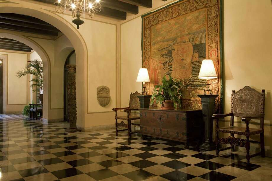Located in the heart of Old San Juan, Puerto Rico, El Convento is a 58-room boutique luxury hotel housed in a reimagined centuries-old convent. Its character-rich lobby is shown here.