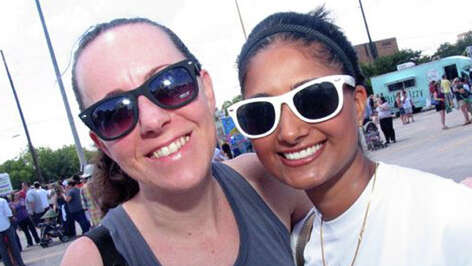 Stephanie Coppedge, left, and Kabita Brignac at the Haute Wheels food truck festival, May 12, 2012