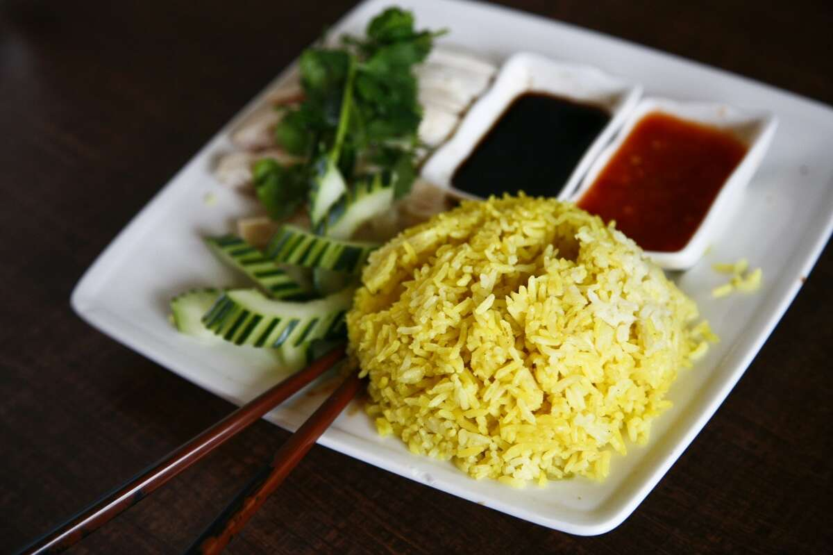 The Hainanese Chicken with Rice dish at Banana Leaf Malaysian Cuisine.