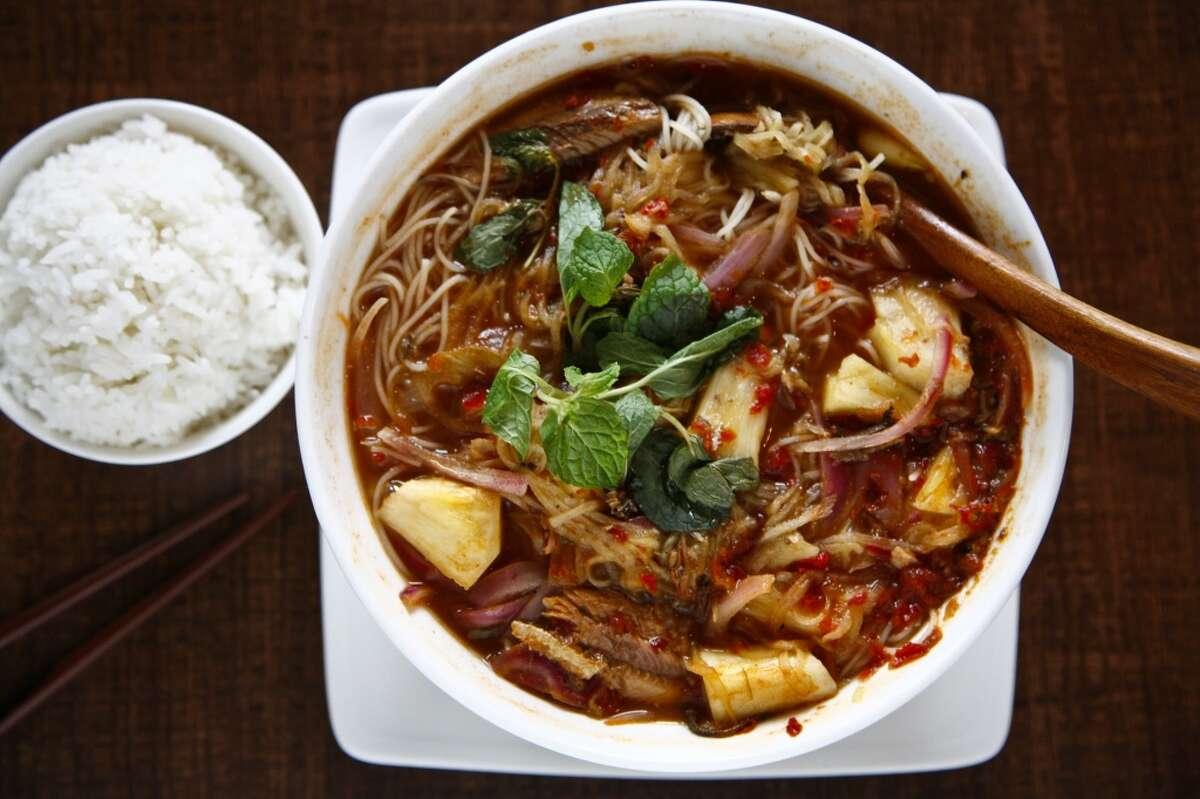 The Penang Assam Laksa noodle soup at Banana Leaf Malaysian Cuisine.