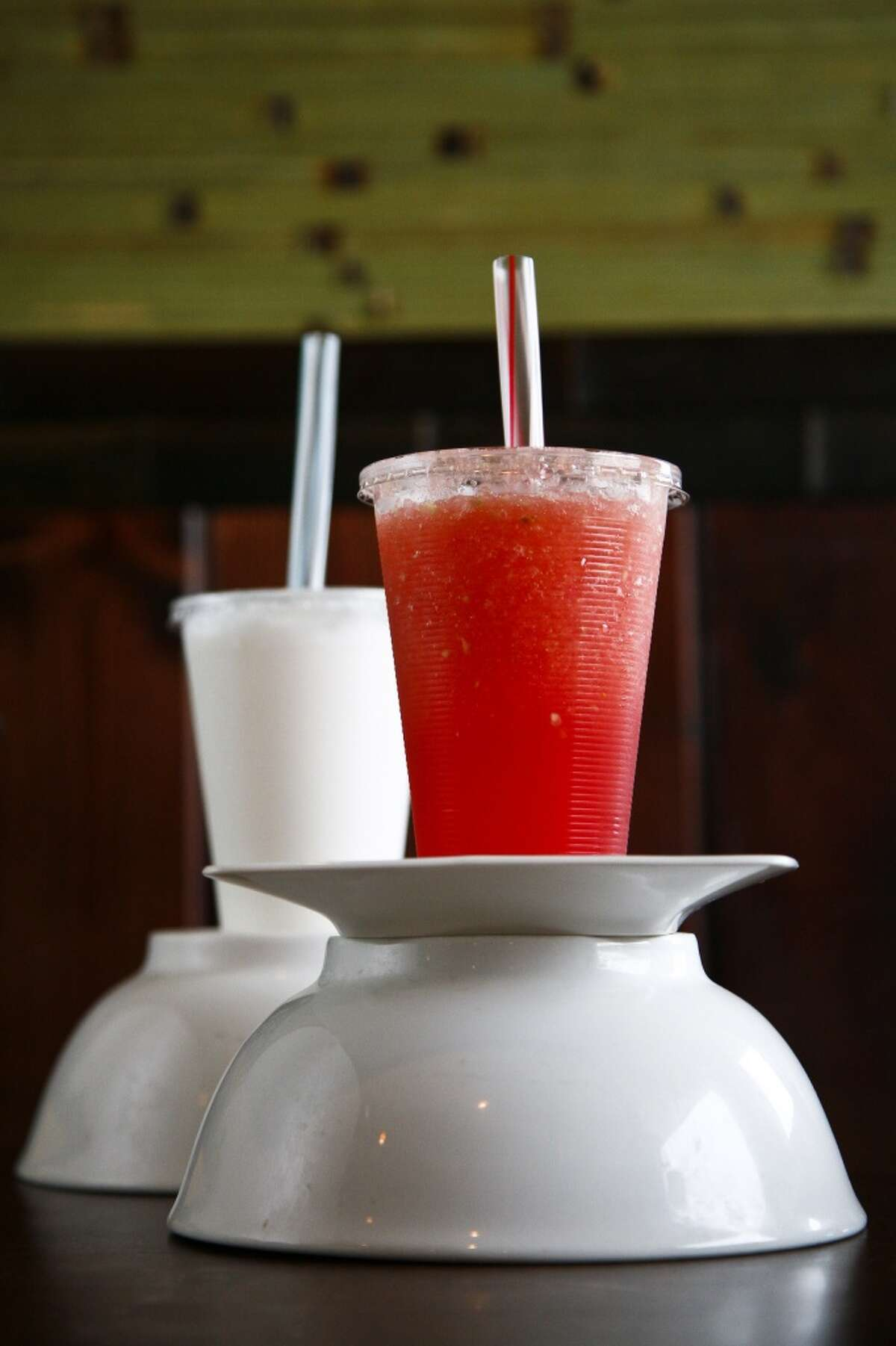 Fresh watermelon juice and fresh coconut drink at Banana Leaf