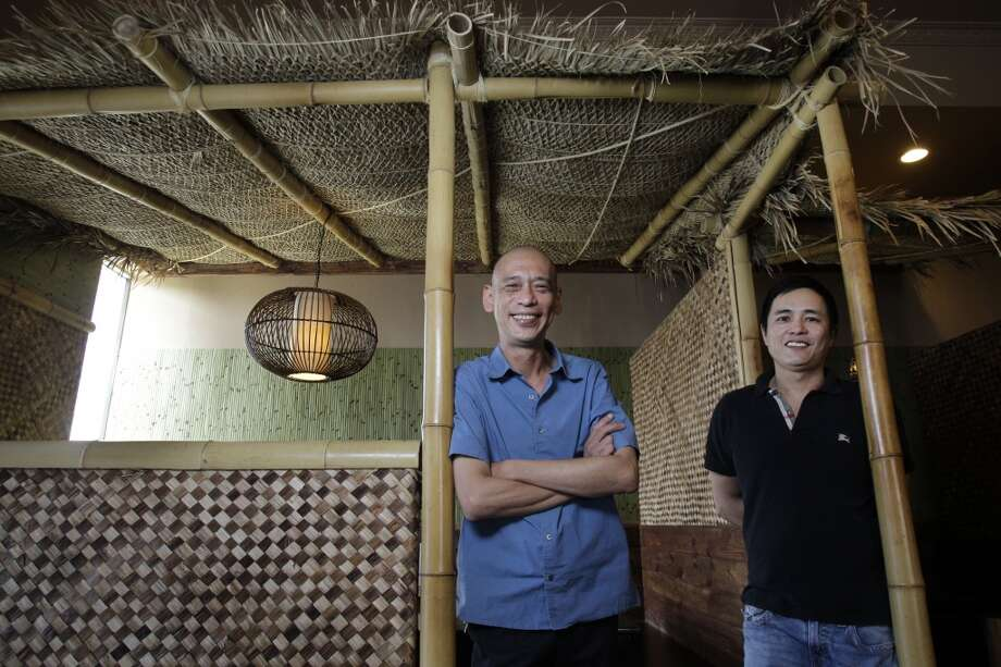 Bobby Lim, left, owner, and chef Joe Choe, right,  at Banana Leaf. Photo: Melissa Phillip, Houston Chronicle