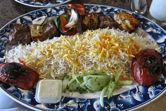 Beef and chicken kebab combo at Bijan Sugar Land.