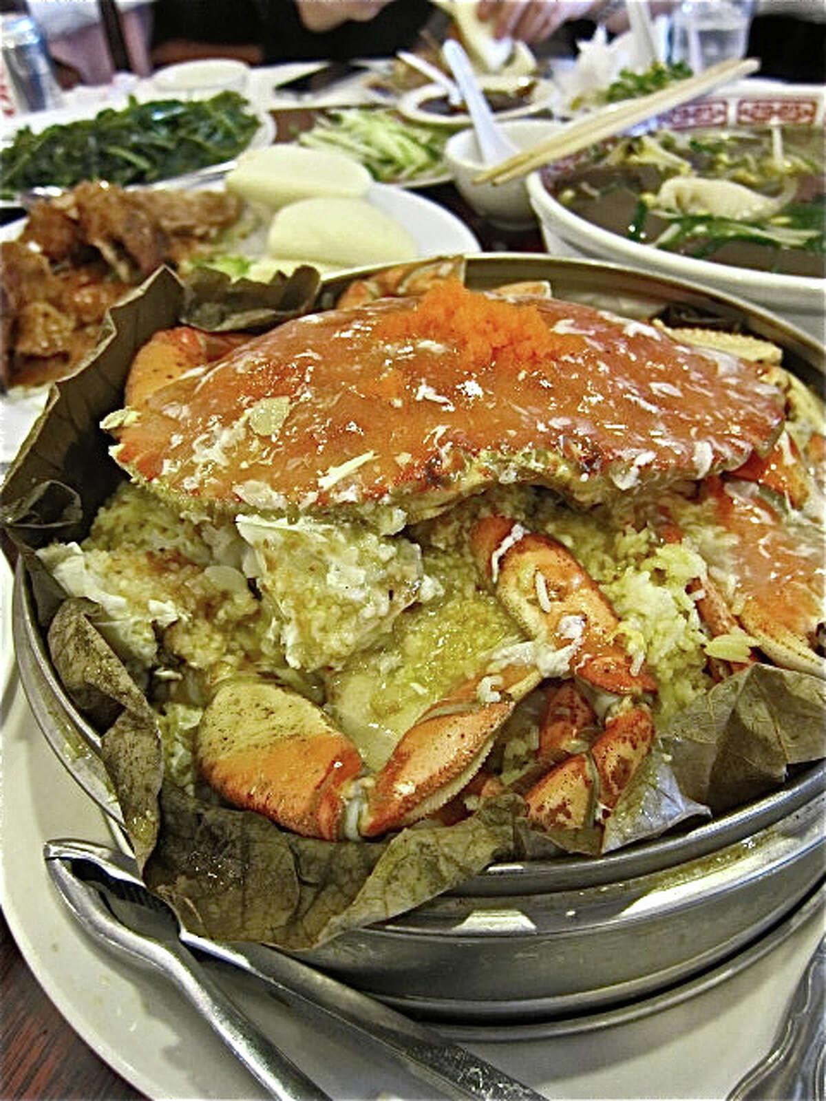 At Confucius Seafood: Dungeness crab in lotus leaf.