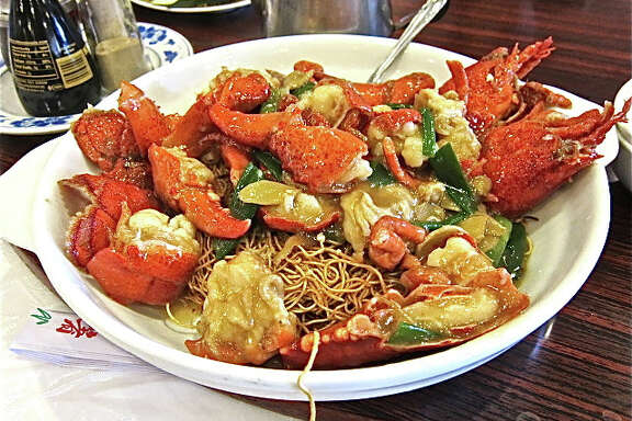 At Confucius Seafood: lobster with ginger and scallion