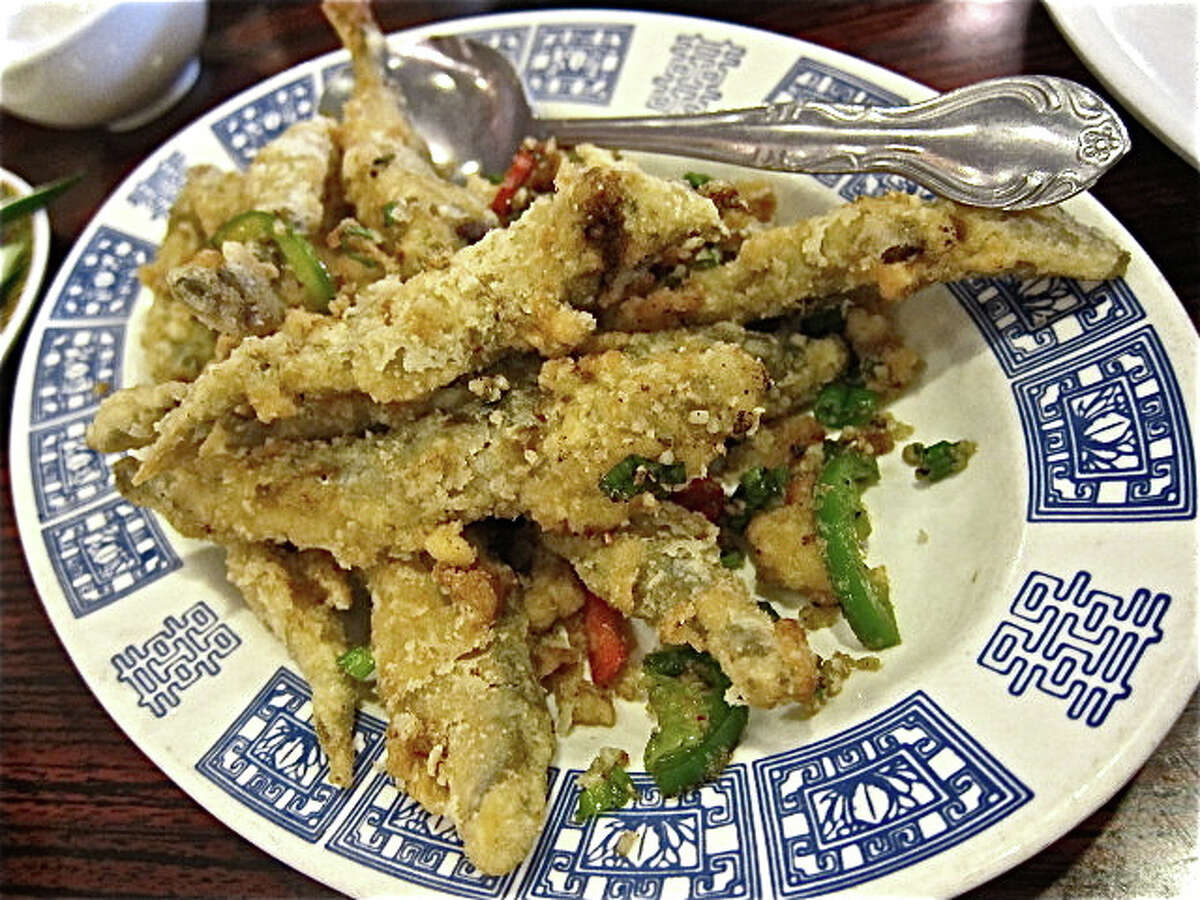Crispy smelts in spicy salt at Confucius Seafood.