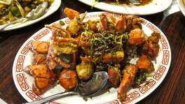 Baked lobsters with black pepper and butter at Confucius Seafood.