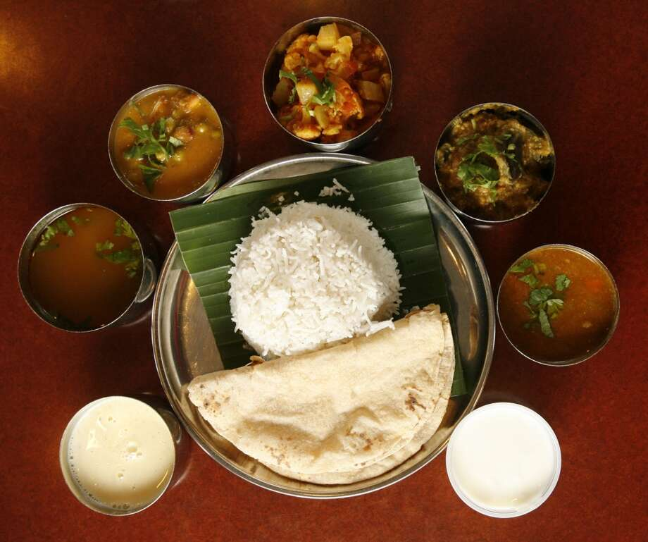 The daily thali from Shri Balaji Bhavan. Photo: Julio Cortez, Houston Chronicle