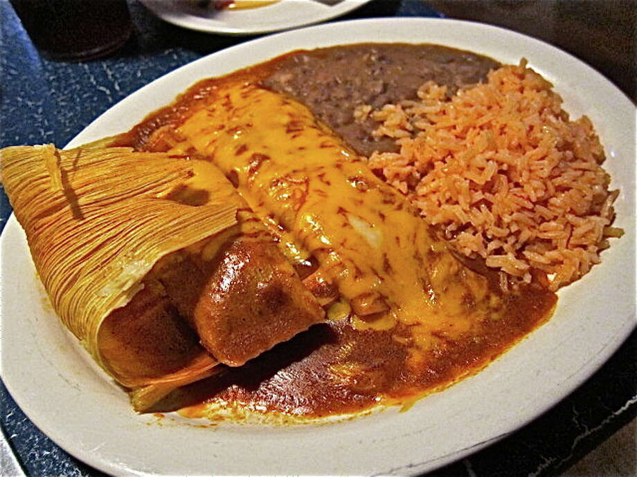 Soto's Cantina. Pork tamale, cheese enchilada. Photo: Alison Cook