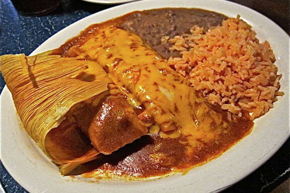 Soto's Cantina. Pork tamale, cheese enchilada.