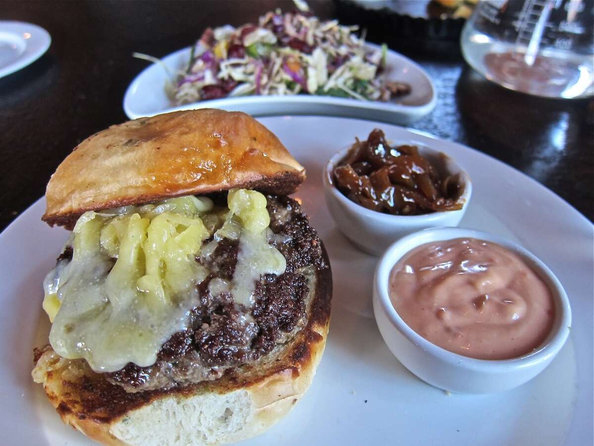 Sparrow's Longhorn burger with cheddar, hot dog onions and Sparrow special sauce.
