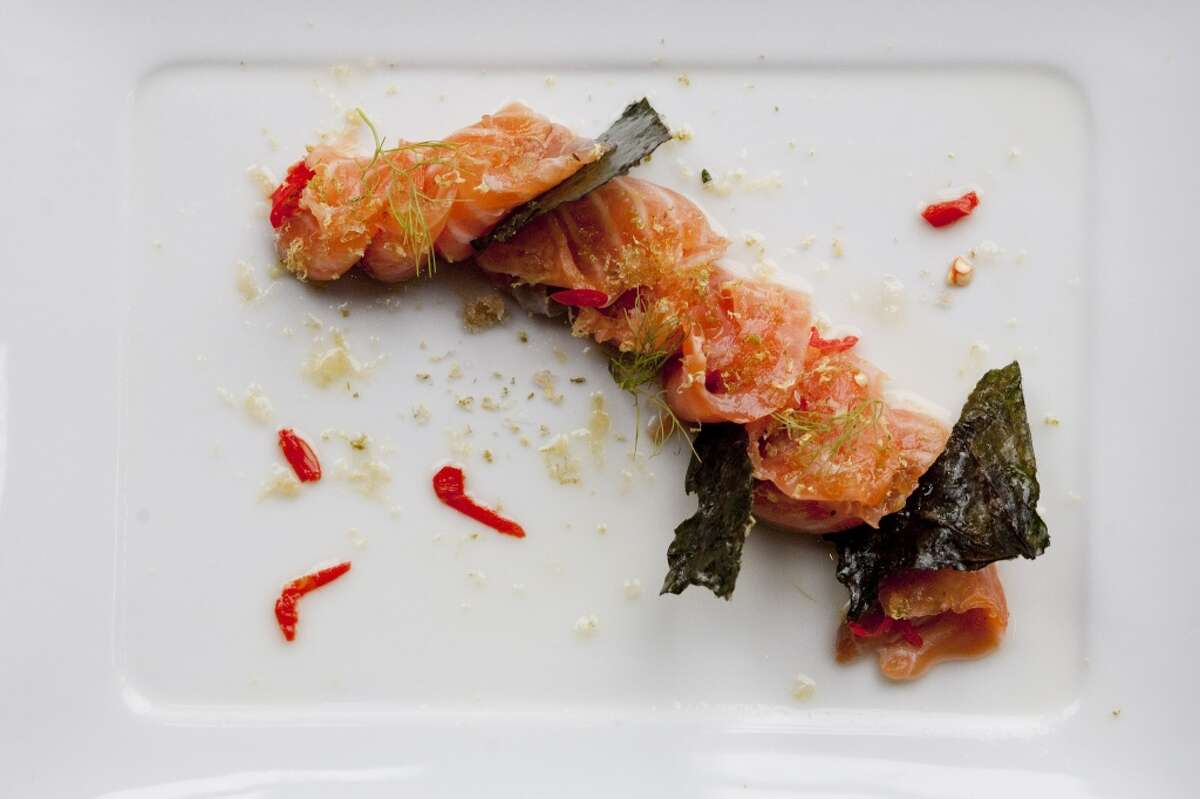 Quick cured salmon, lemon-lime zest, brown sugar/ caperberry salt, chiles and candied hoja santa at Cove Cold Bar
