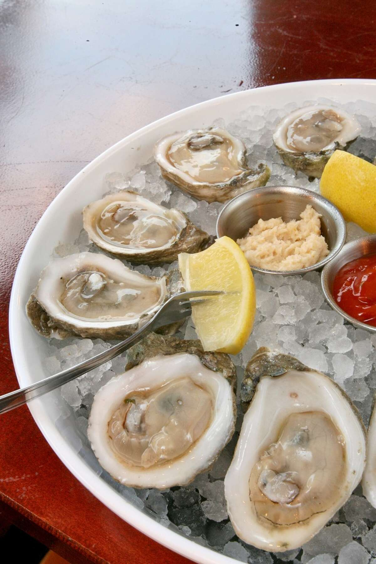 A tray of oysters on the half shell at Danton's Gulf Coast Seafood Kitchen.