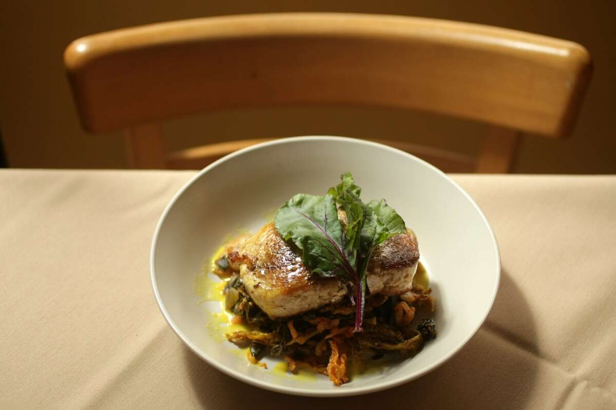 Roost's pan-seared wahoo with home made kimchee