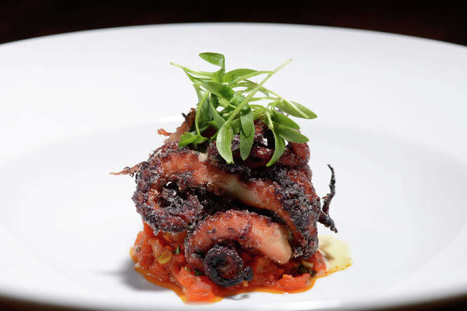 Red Wine Braised Octopus with sake tomato marmalata and kimchi foam are part a new seasonal menu by Chef Austin Simmons for Hubbell & Hudson Bistro. Photo: Courtesy Photo