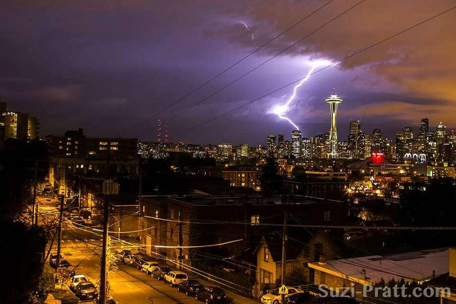 Lightning in Seattle on Sept. 5, 2013. Photo by Suzi Pratt.