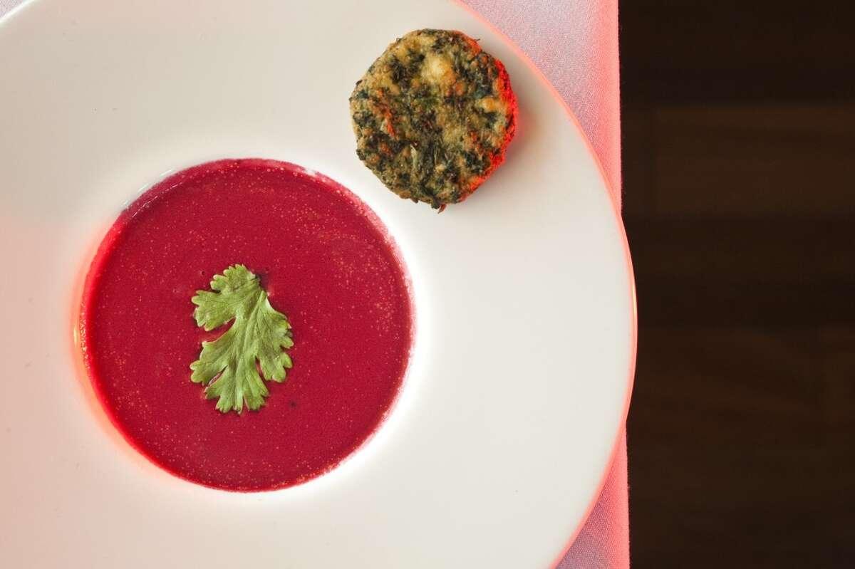 Beet soup with paneer cutlet at Indika