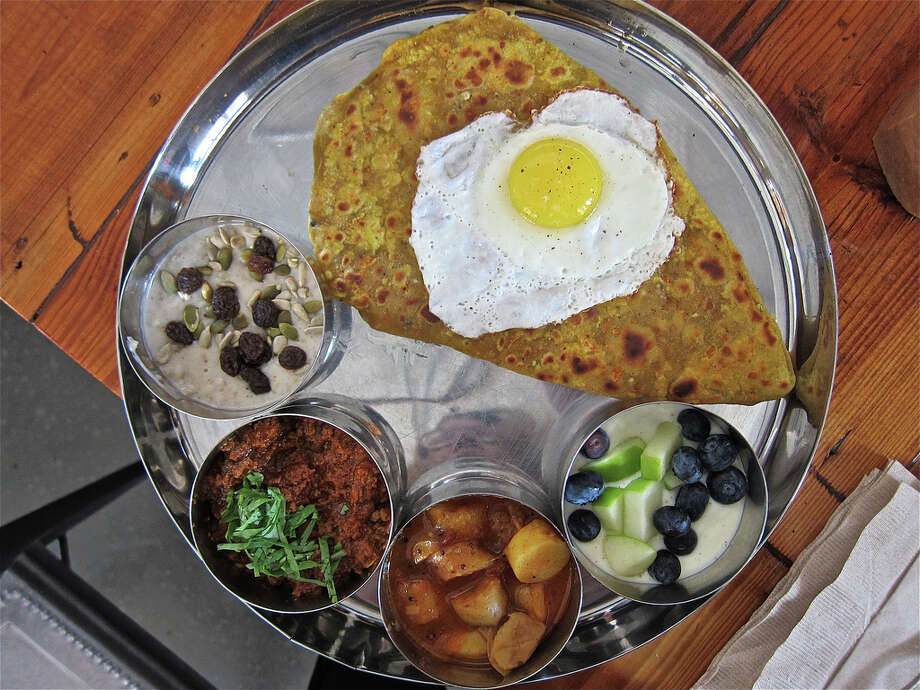 Breakfast thali at Pondicheri. Photo: Alison Cook