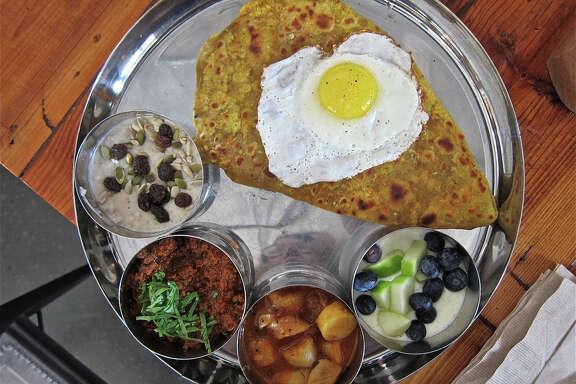 Breakfast thali at Pondicheri.