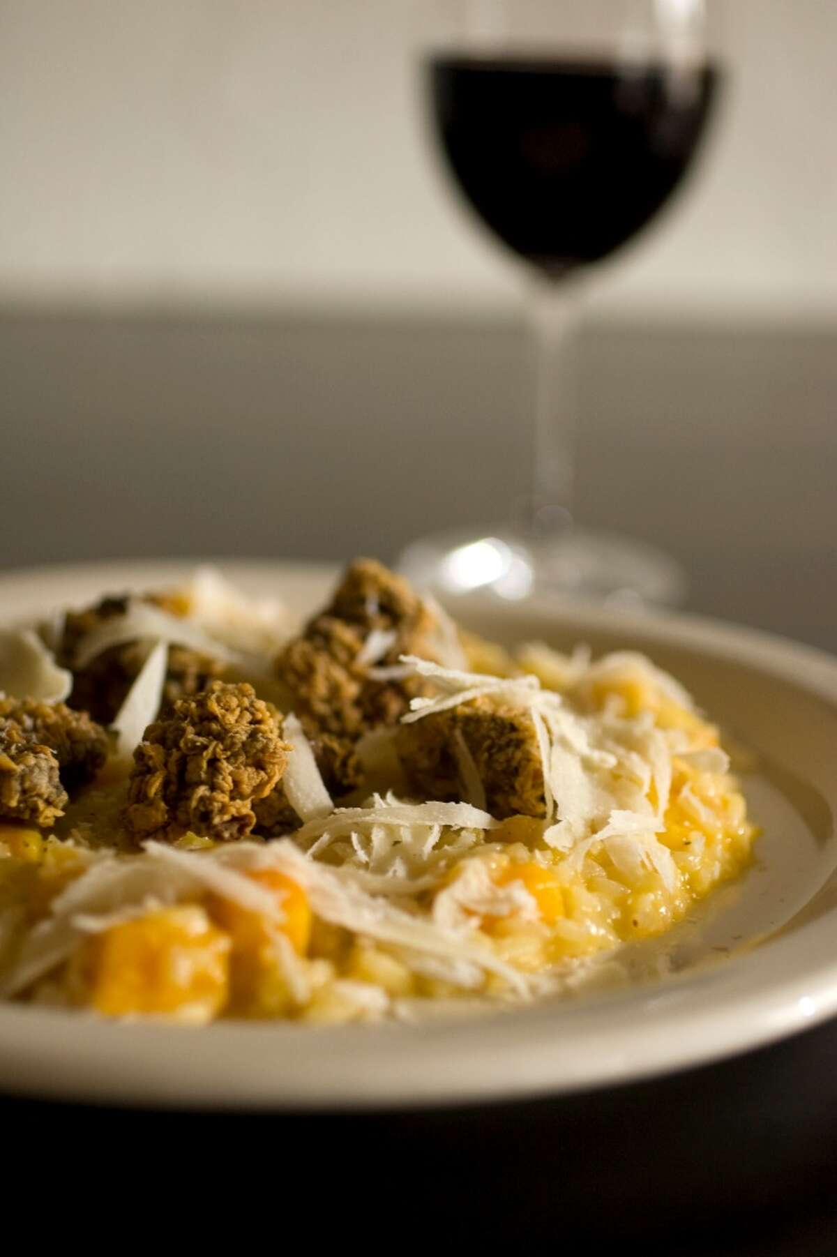 Butternut squash risotto with fried chicken livers at Vinoteca Poscol.