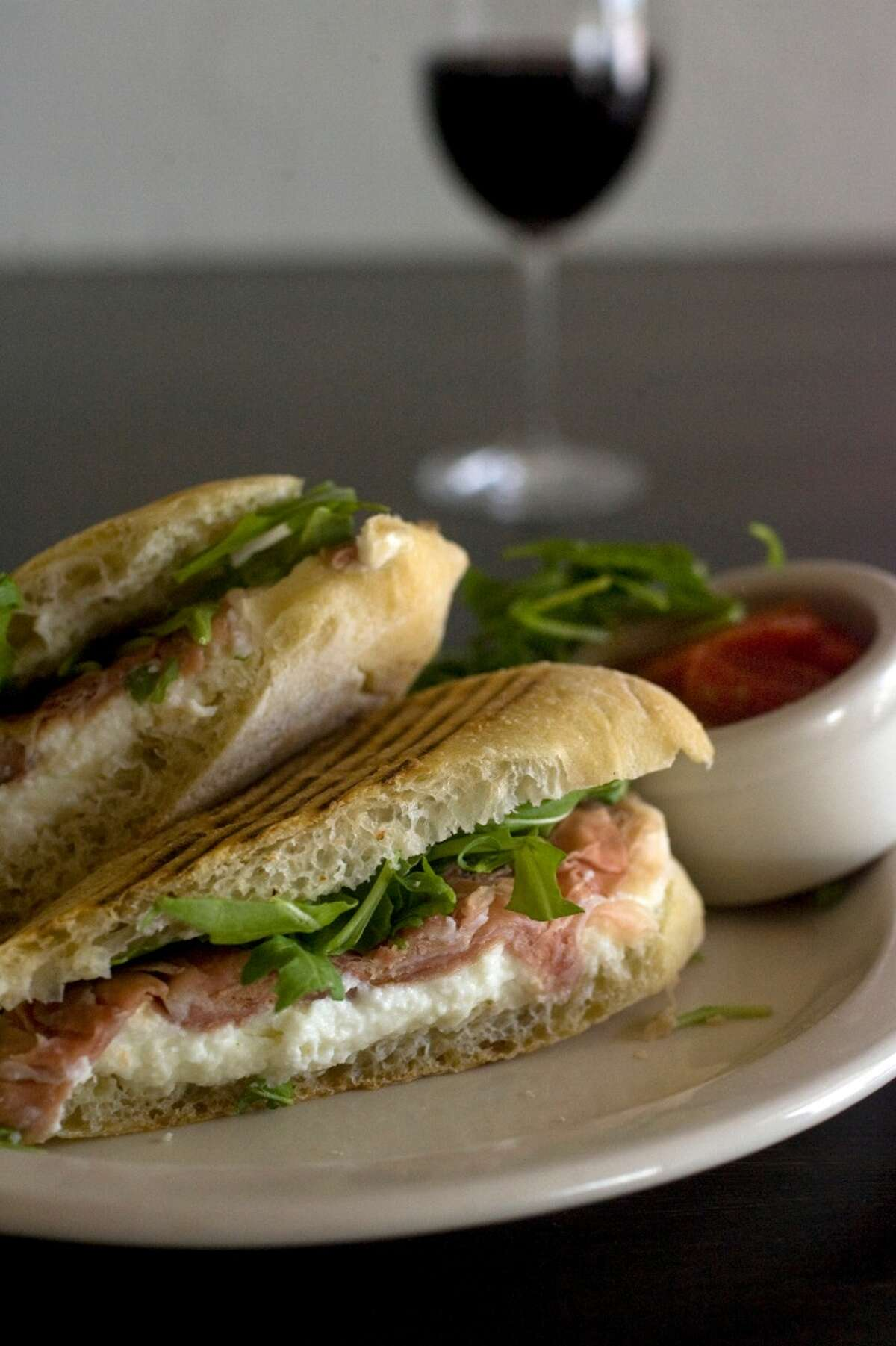 Panini with prosciutto, mozzarella and arugula at Vinoteca Poscol.