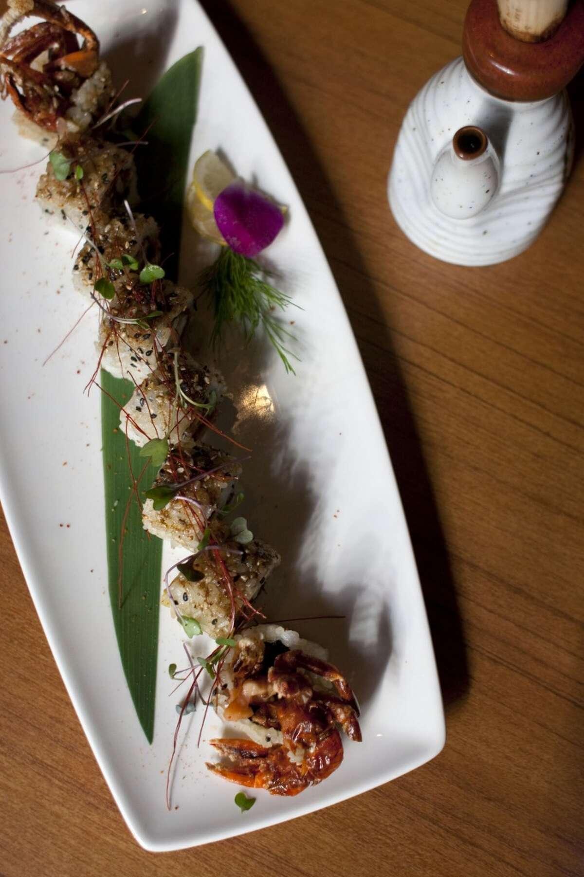 Fresh soft shell crab and barbecue salmon roll at Kata Robata