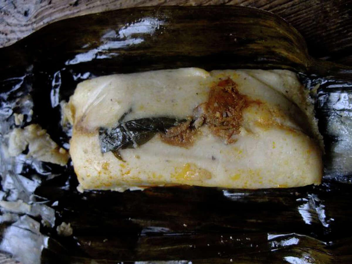 Pico's Mex-mex Oaxacan tamal with pork, red chile, hoja santa leaf