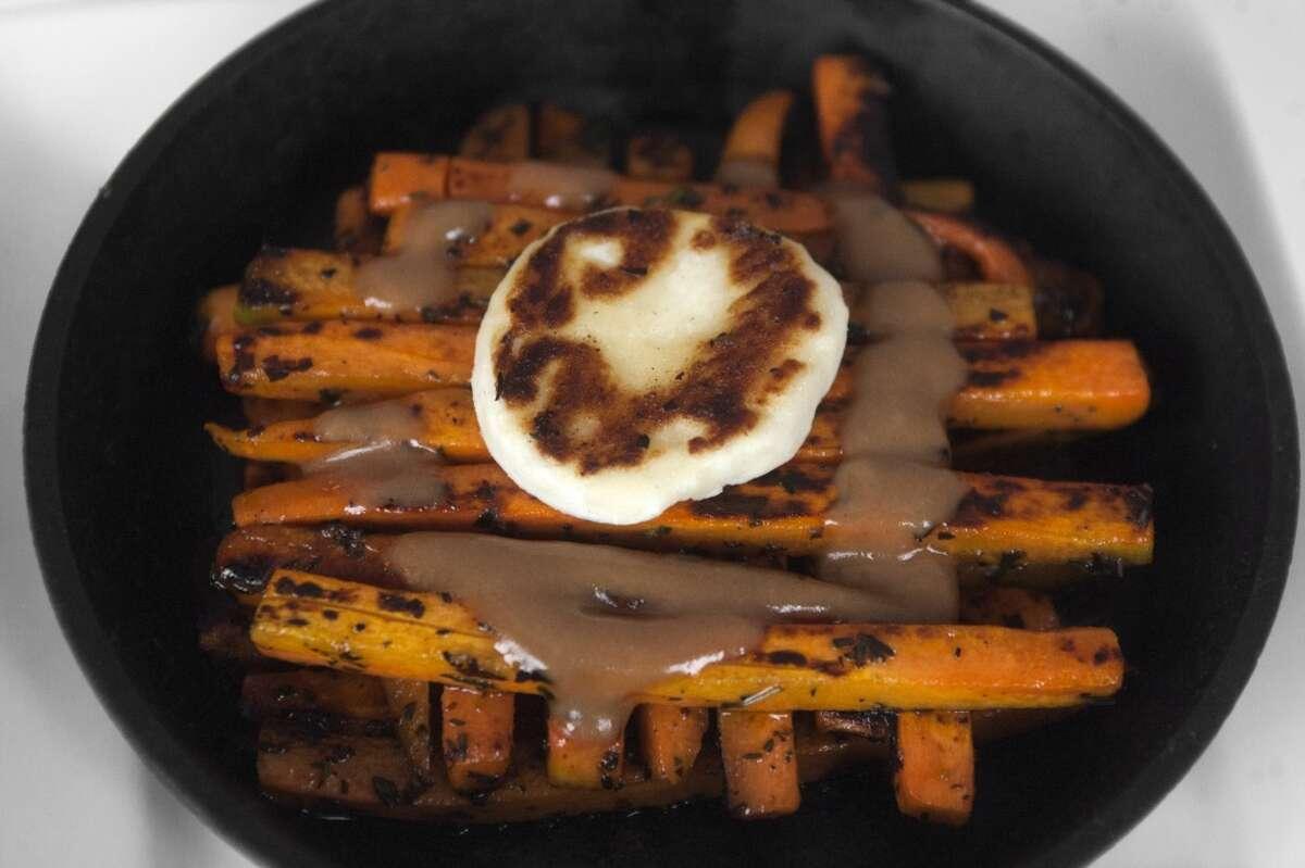 Piqueo Cuisine: Peruvian Dish: carrot with goat cheese Where: 13215 Grant, No#1800, Cypress Phone:281-257-9097 Website: piqueo.com