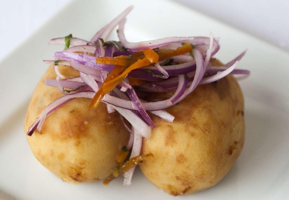Papas Rellenas (stuffed potatoes) at Piqueo Ristorante