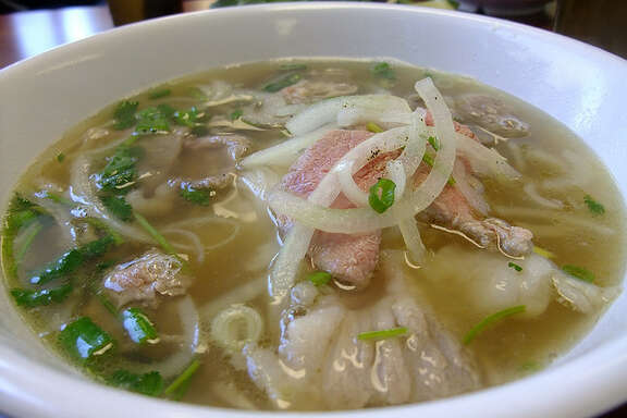 Pho with rare steak, brisket and tendon at Pho Binh Trailer.