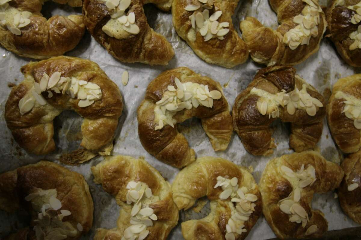 Pastries are seen on a bin after being baked and before being put on display for sale at La Guadalupan