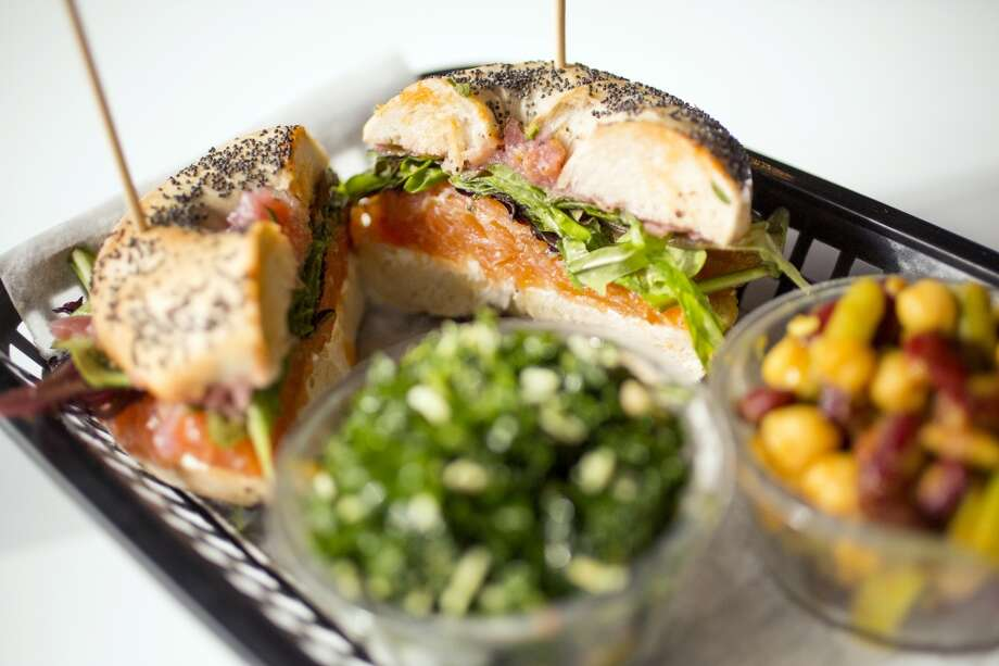 House smoked salmon sandwich with a side of tuscan kale and four bean at Local Foods Photo: TODD SPOTH, TODD SPOTH / PHOTOGRAPHER