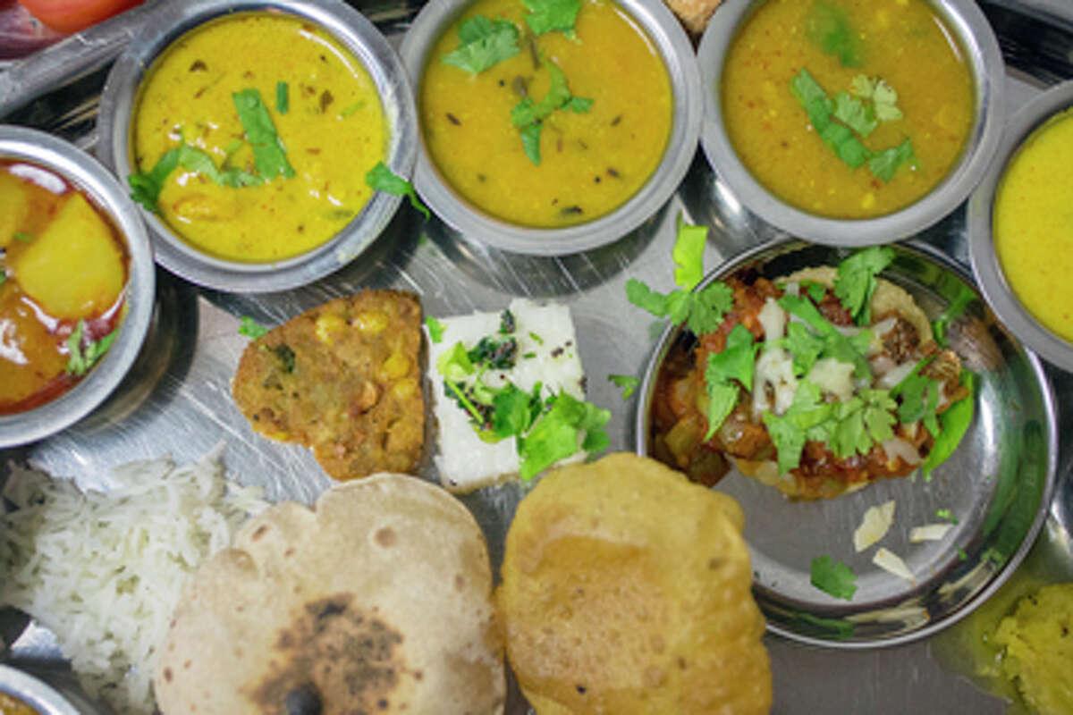 A traditional Indian vegetable thali at Maharaja Bhog.