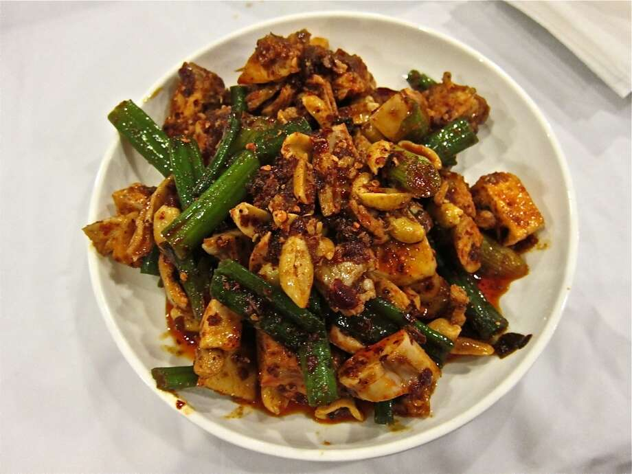 Red oil rabbit with toasted peanut and scallions at Mala Sichuan Photo: Alison Cook