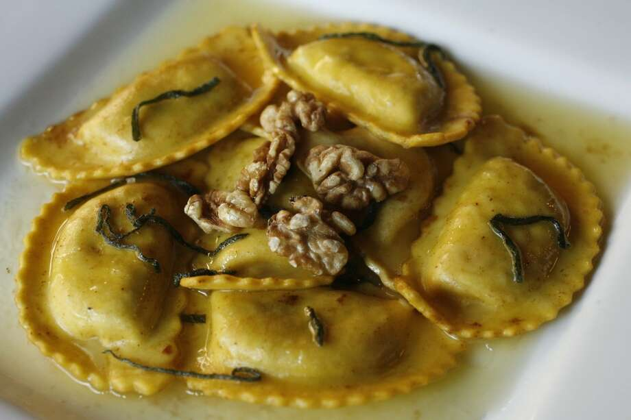 MezzanotteCuisine: ItalianEntree price: $$-$$$$Where: 13215 Grant Rd. in CypressPhone: 832-717-7870Website:   mezzanotte.tvRead Alison Cook's review of Mezzanotte Pictured above: Pumpkin ravioli Photo: Billy Smith II, Houston Chronicle