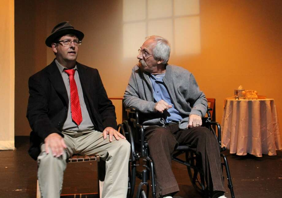 "Left to right in a scene from ""Tuesday's With Morrie"" are Gary Millar, as Mitch, and Ron Malyszka as Morrie. The show opens Friday, Sept. 6, 2013, in Brookfield, Conn. Photo: Contributed Photo"