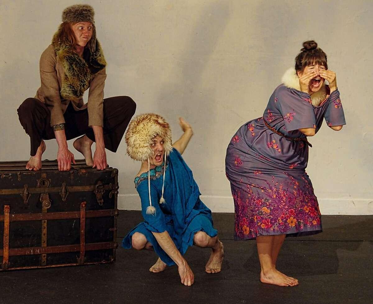 """Two Baboons (Allison Fenner, Sam Bertken) spank the title character (Sabrina Wenske) in Rudyard Kipling's """"The Elephant's Child"""" in """"O Best Beloved"""" at the San Francisco Fringe Festival"""